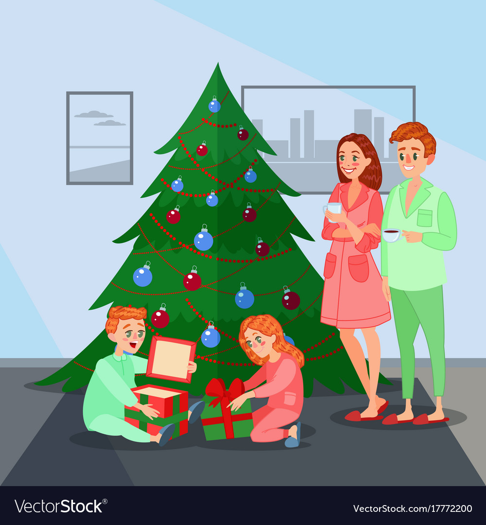 Kids opens christmas presents happy family Vector Image