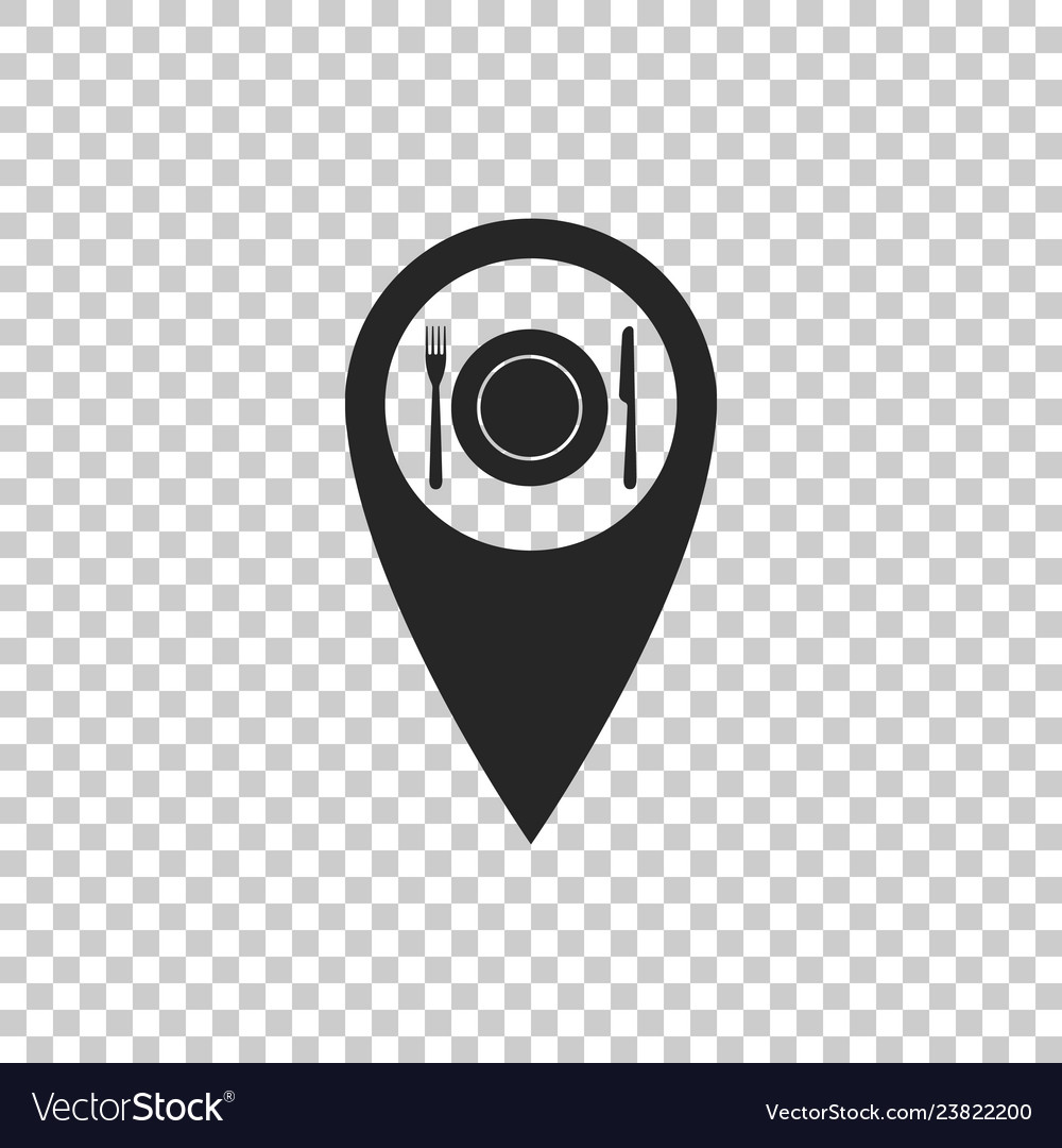Map pointer and cutlery dish fork knife icon