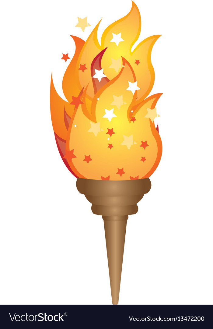 Olympic torch with yellow flame