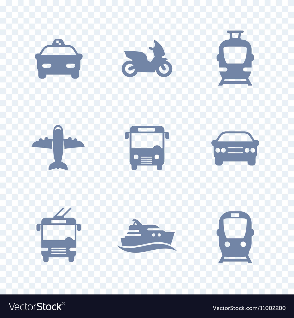 Passenger transport icons public transportation