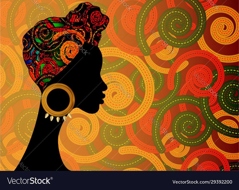 Portrait afro woman shenbolen ankara head wrap