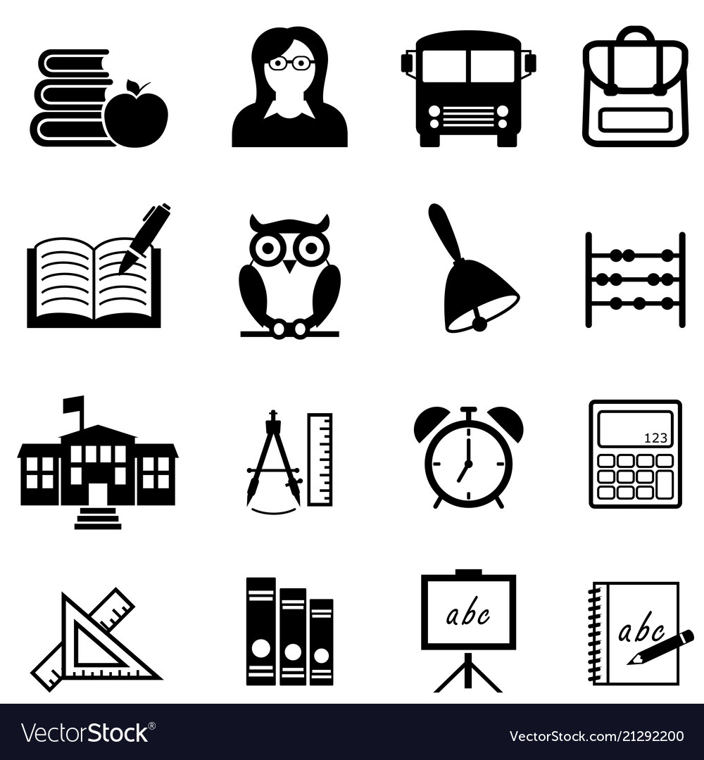 School education and learning web icon set