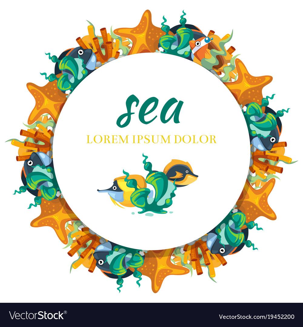 Sealife round banner design - banner with cartoon vector image