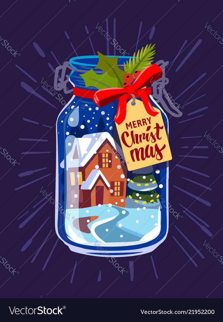 Snow mason jar new year
