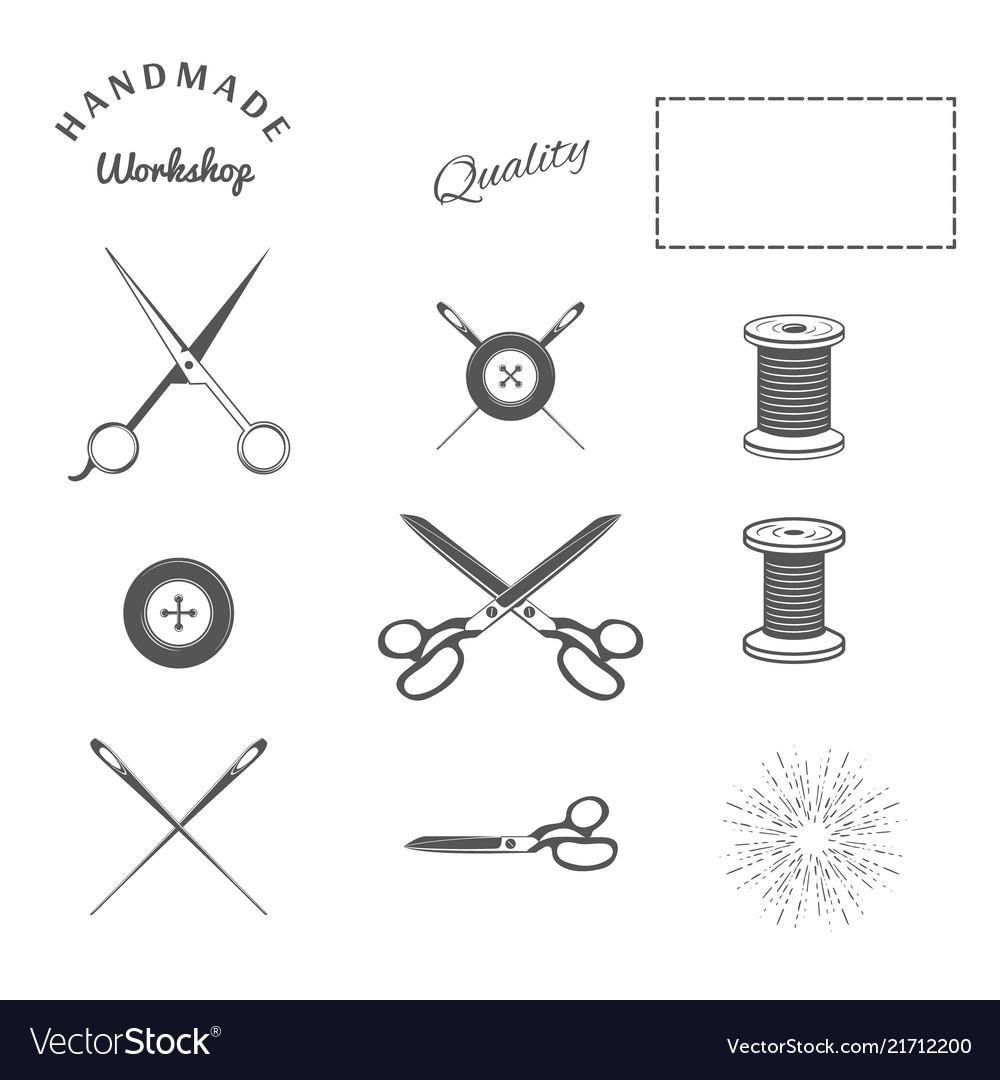 Tailor sewing design elements crossing scissors
