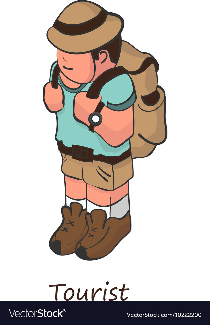 Tourist with a backpack on his back Isometric