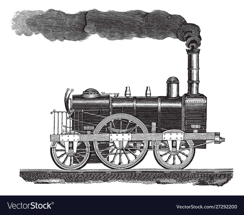 Vintage engraving a high-speed locomotive