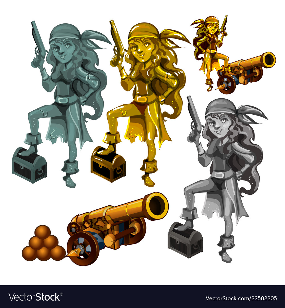 A set of statues of a girl pirate made of stone