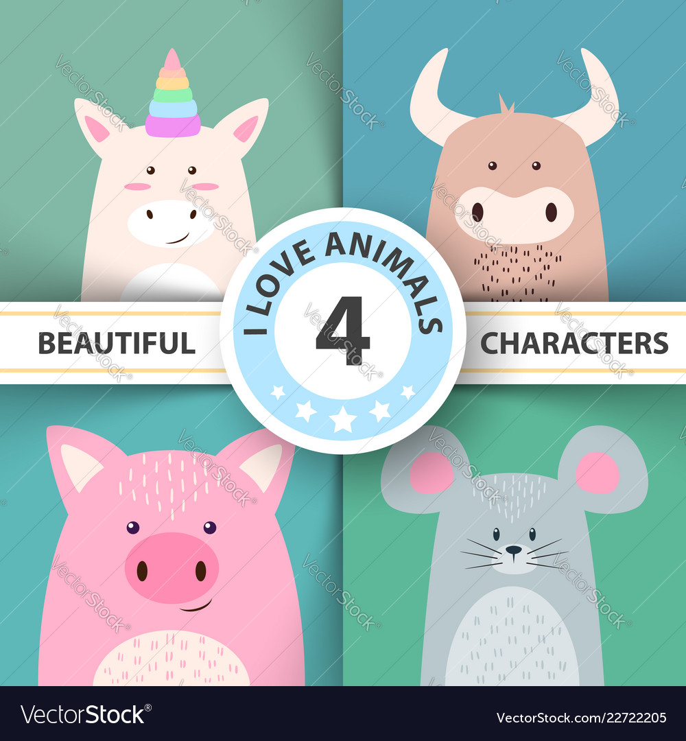 Animal characters unicorn bull pig mouse