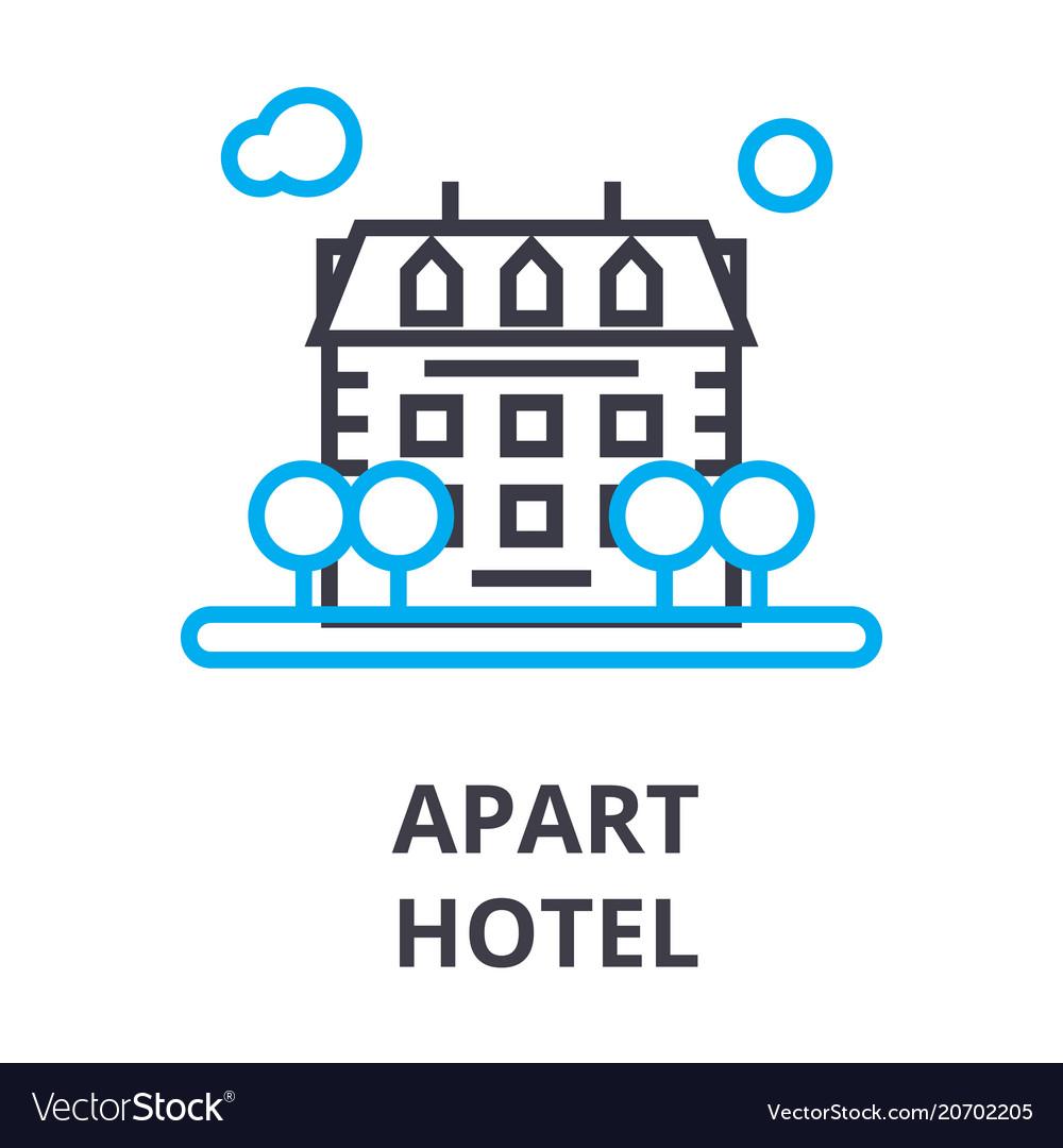 Apart hotel thin line icon sign symbol vector image