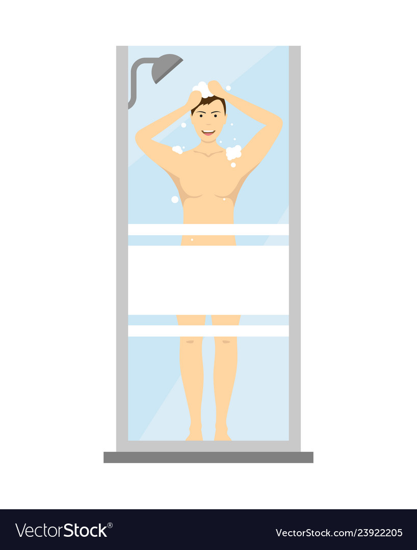 Cartoon character man washes in the shower
