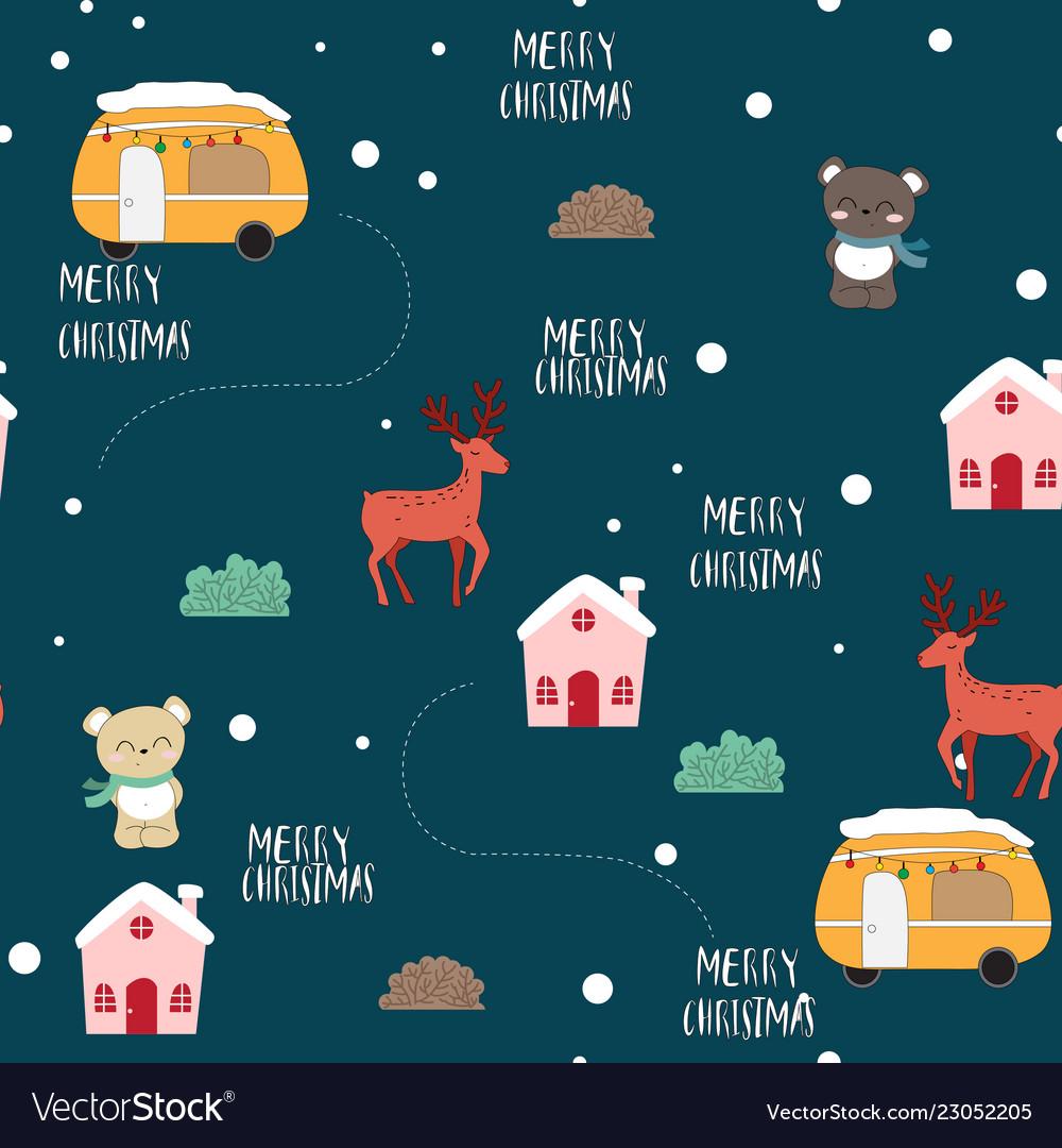 Cute animal cartoon merry christmas seamless
