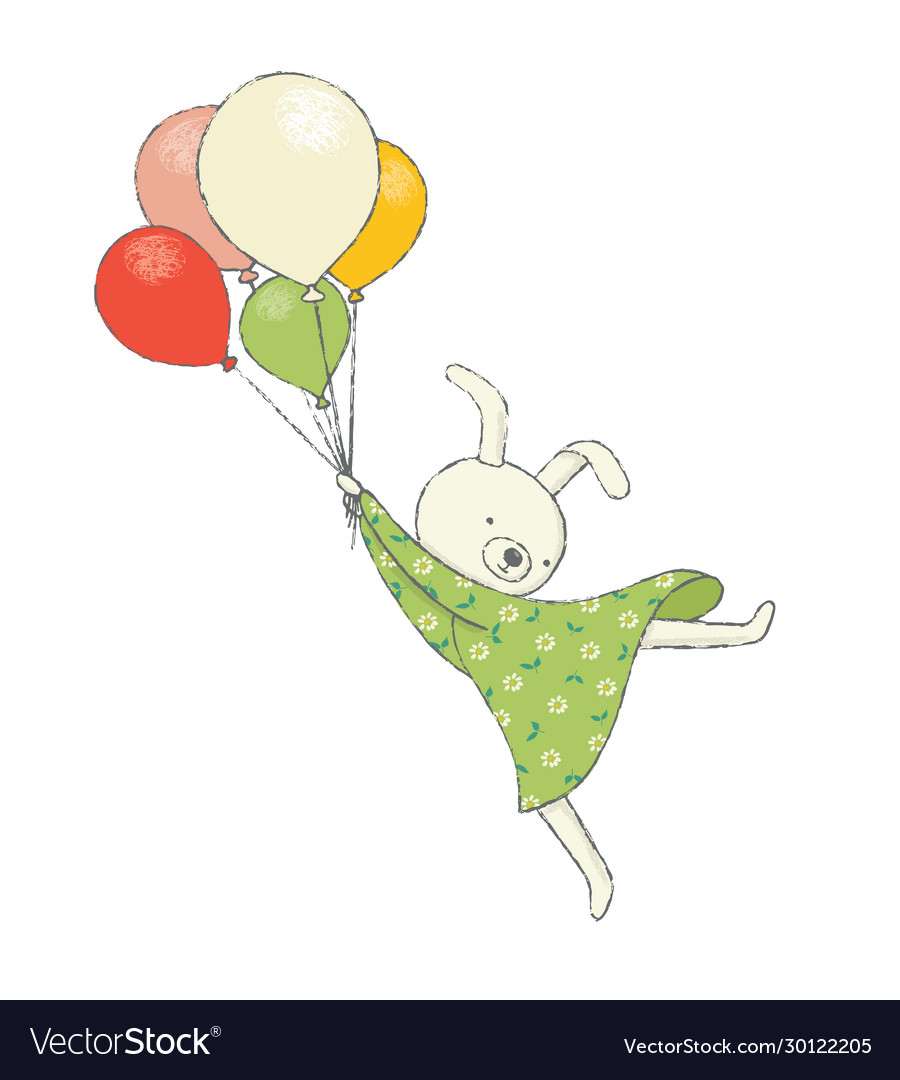 Cute bunny flying on balloons