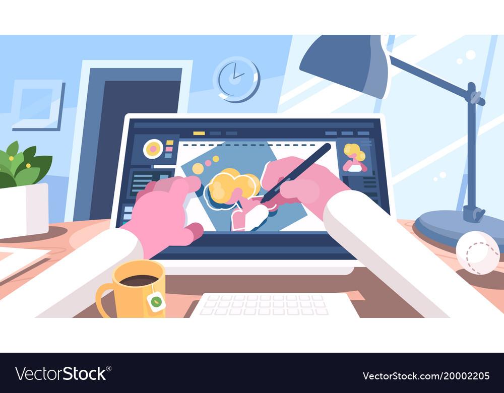 Designer draws on computer vector image