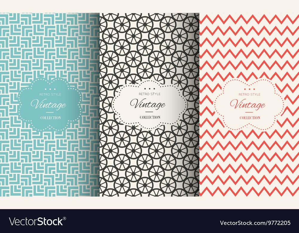 Elegant vintage seamless pattern set