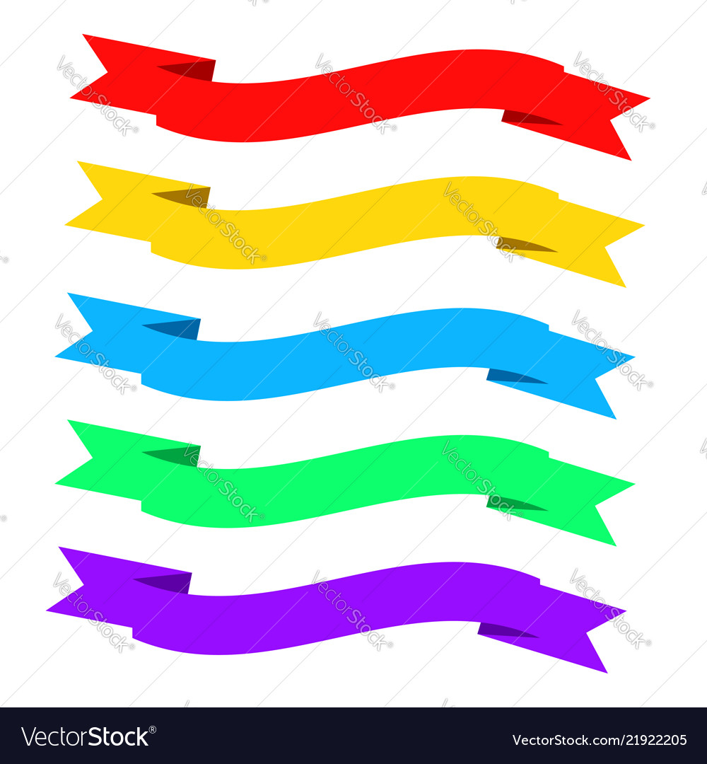 Flat ribbons banners ribbons in flat design set