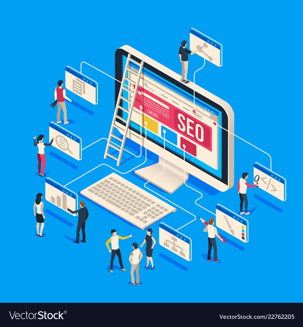 Isometric seo agency creative people startup