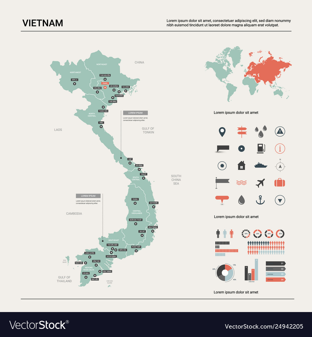 Map vietnam high detailed country map with