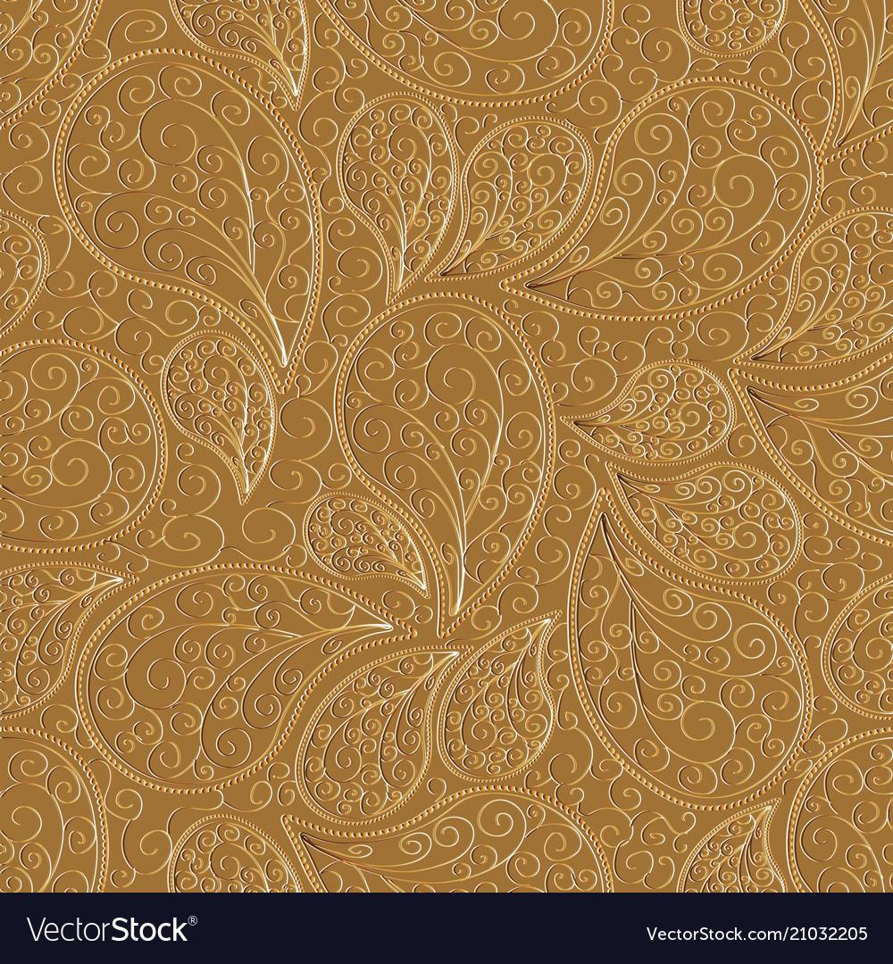 Paisleys seamless pattern beige repeating floral