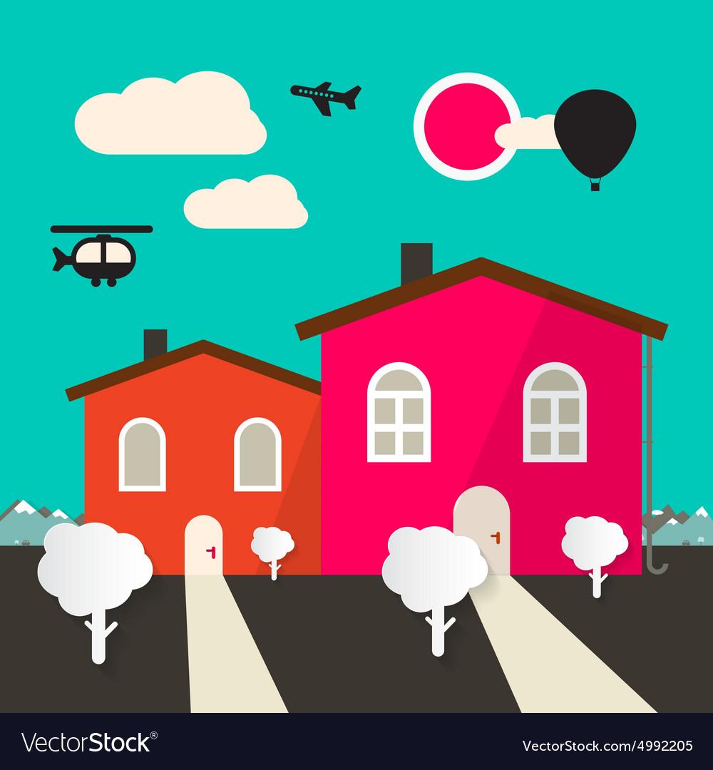 Retro Flat Design Houses vector image