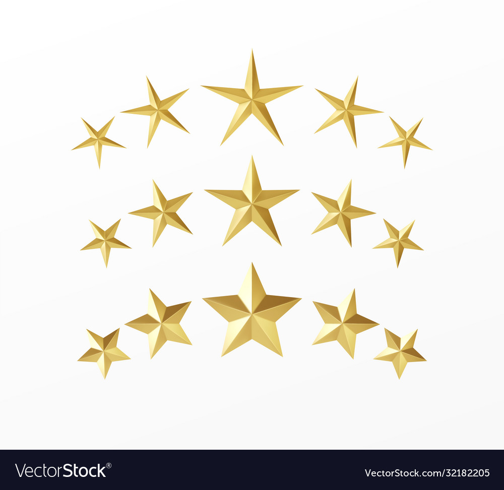 Set golden realistic stars with different rays