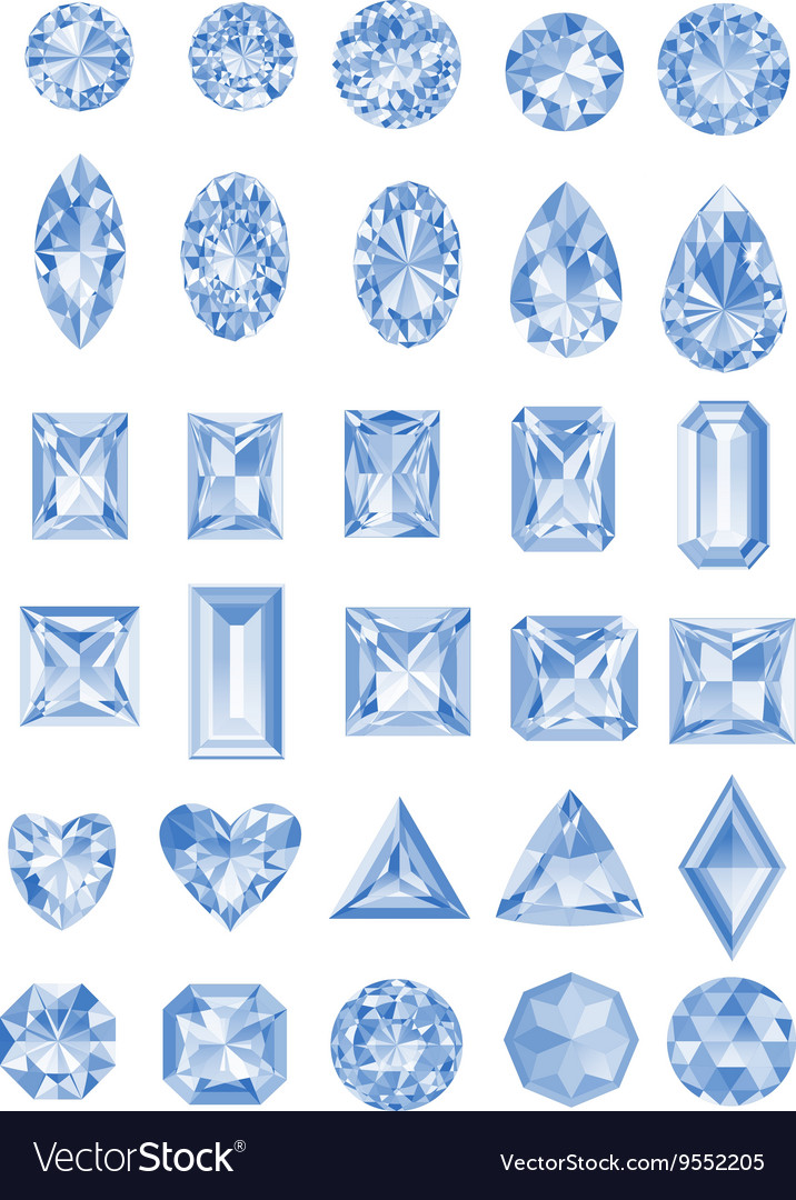 Set of realistic diamonds with different cuts vector image