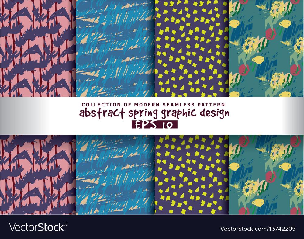 Set spring floral background color seamless
