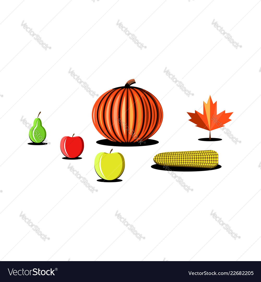 Thanksgiving day vegetables fruits products set
