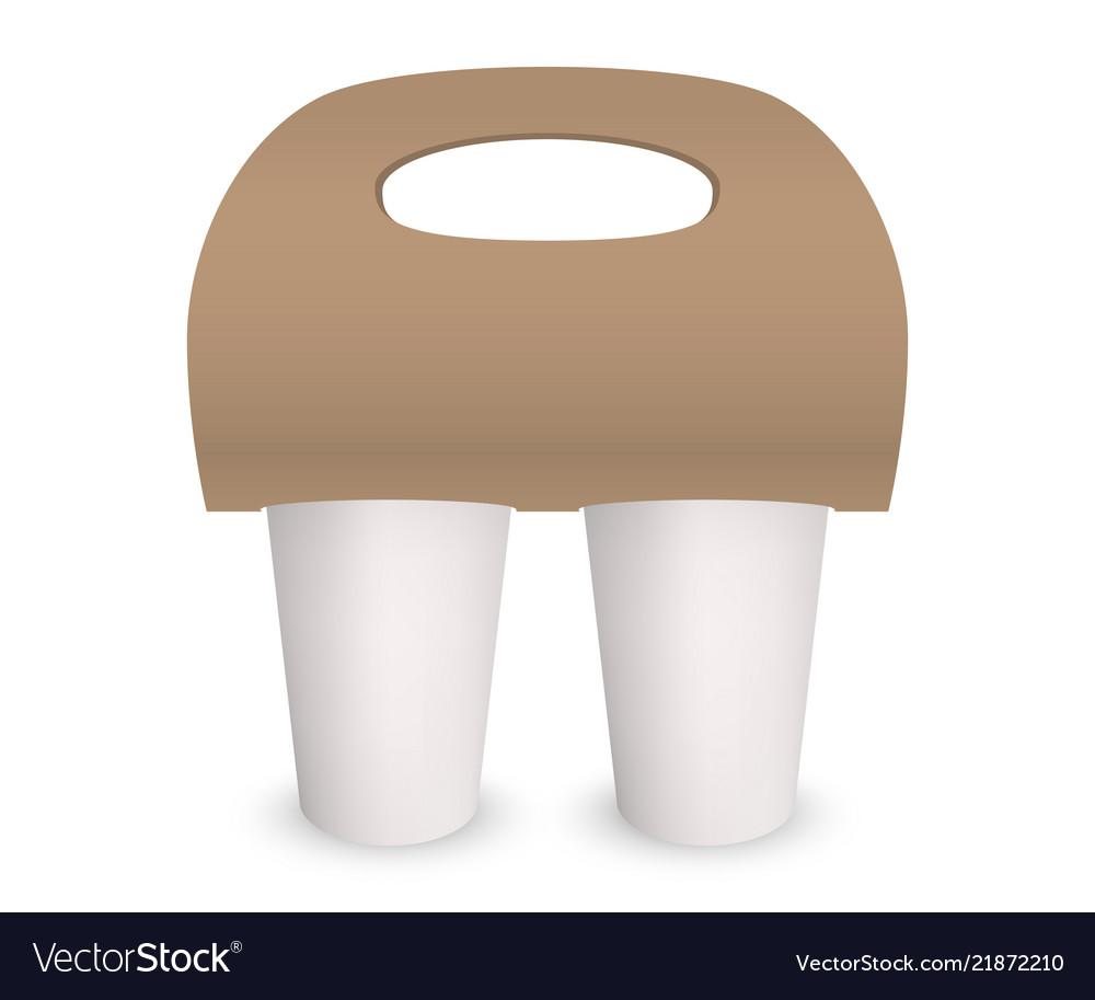 Coffee cup takeaway pack holder mockup 3d