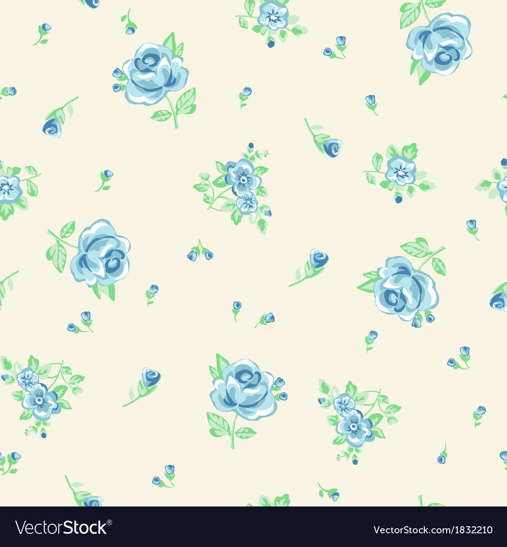Ditsy blue roses vector image