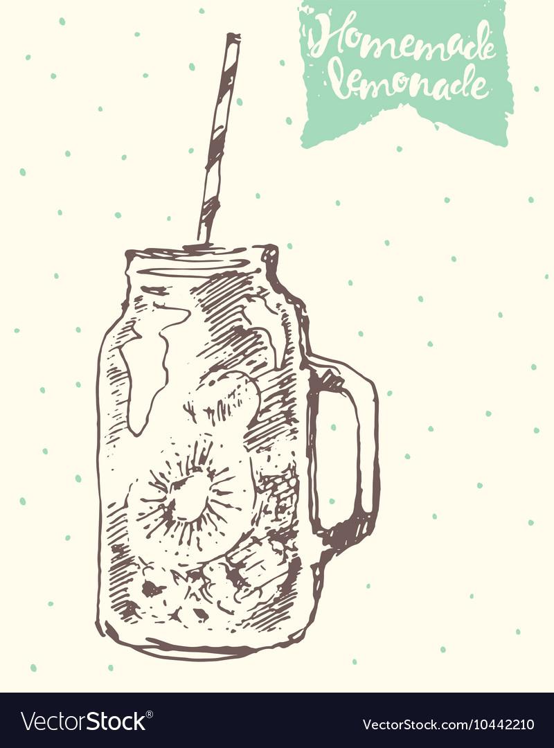Drawn homemade lemonade sketch