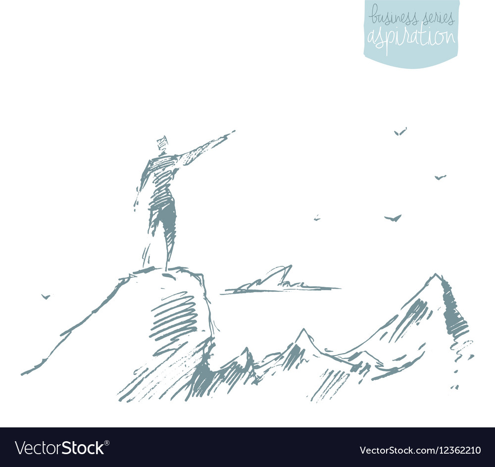 Drawn silhouette man top hill winner sketch vector image