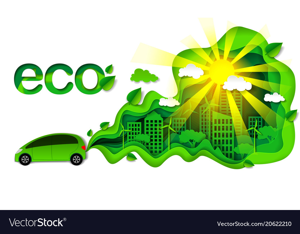 Eco Friendly Car In Modern Royalty Free Vector Image