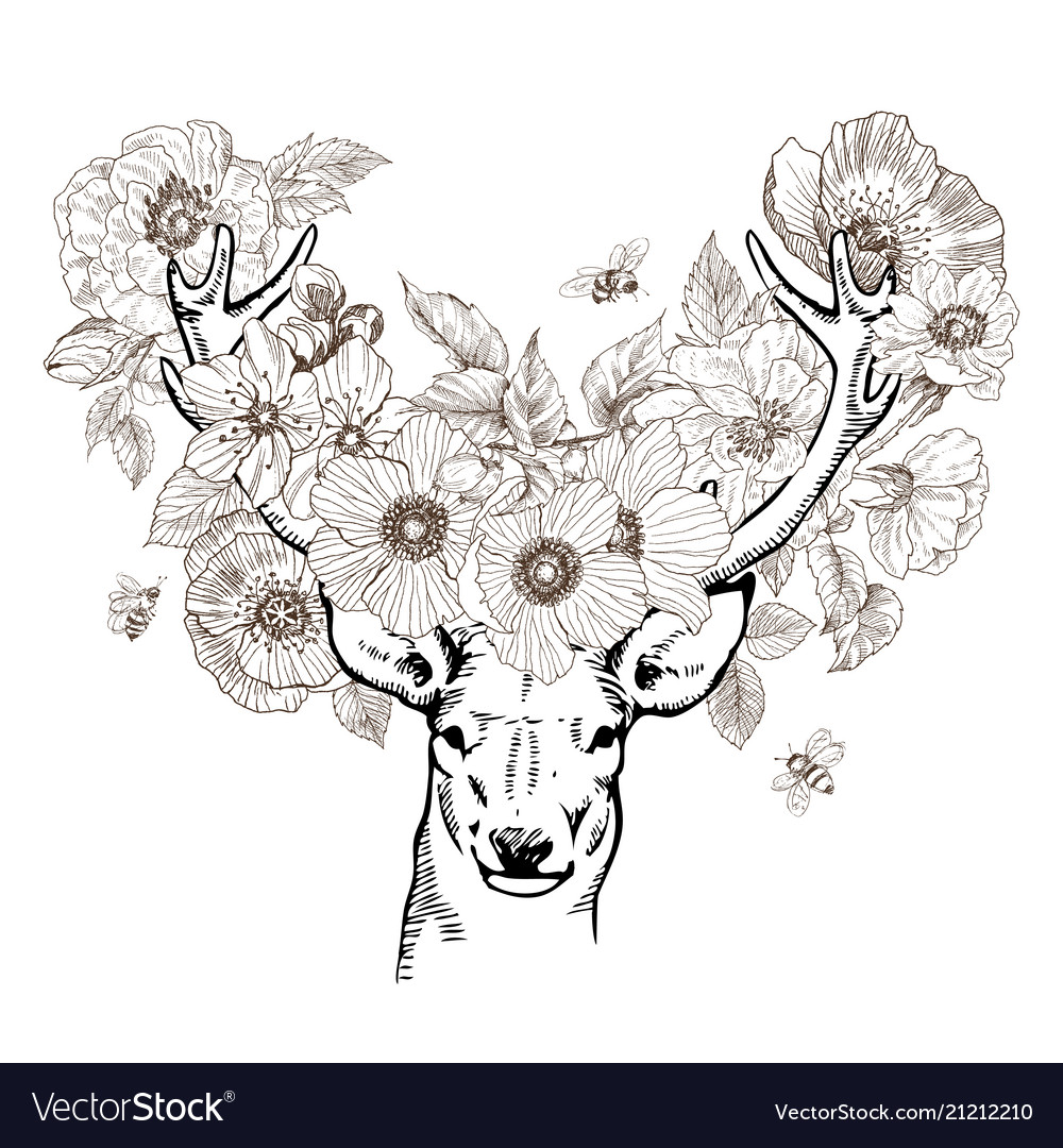 Hand drawn realistic deer surrounded flowers