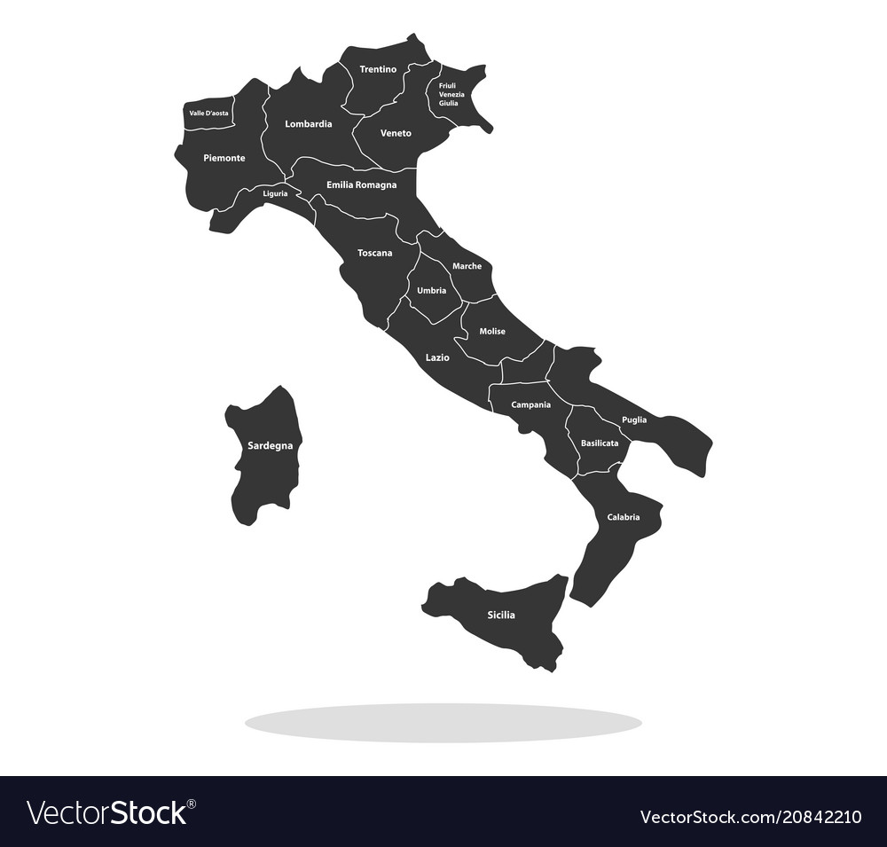 Italy map with regions vector image