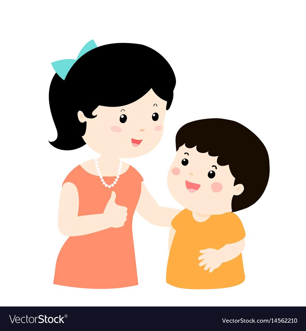 Mother admire son character cartoon xa