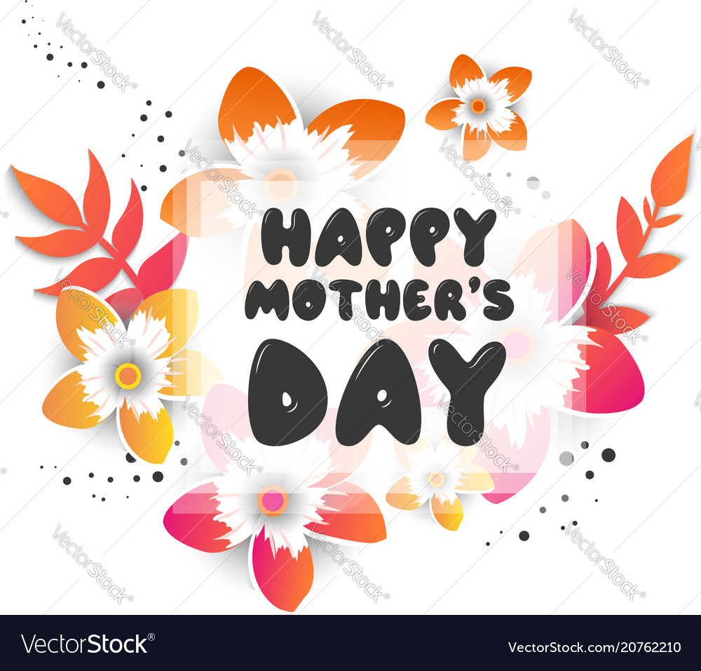 Mothers day greeting card with blossom flowers