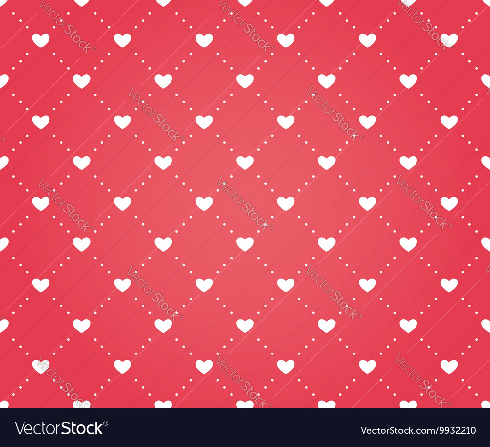 Seamless pattern of hearts on a red background