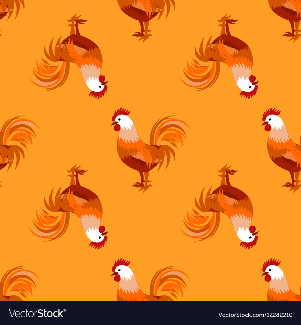 Seamless pattern with cock