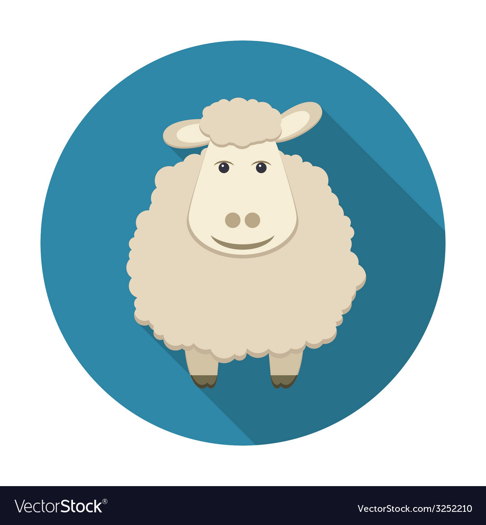 Sheep icon with long shadow vector image
