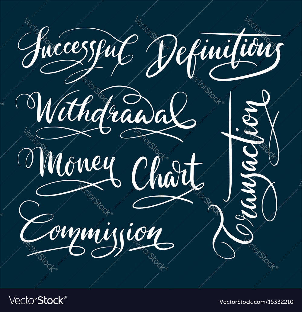 Successful and commission hand written typography vector image