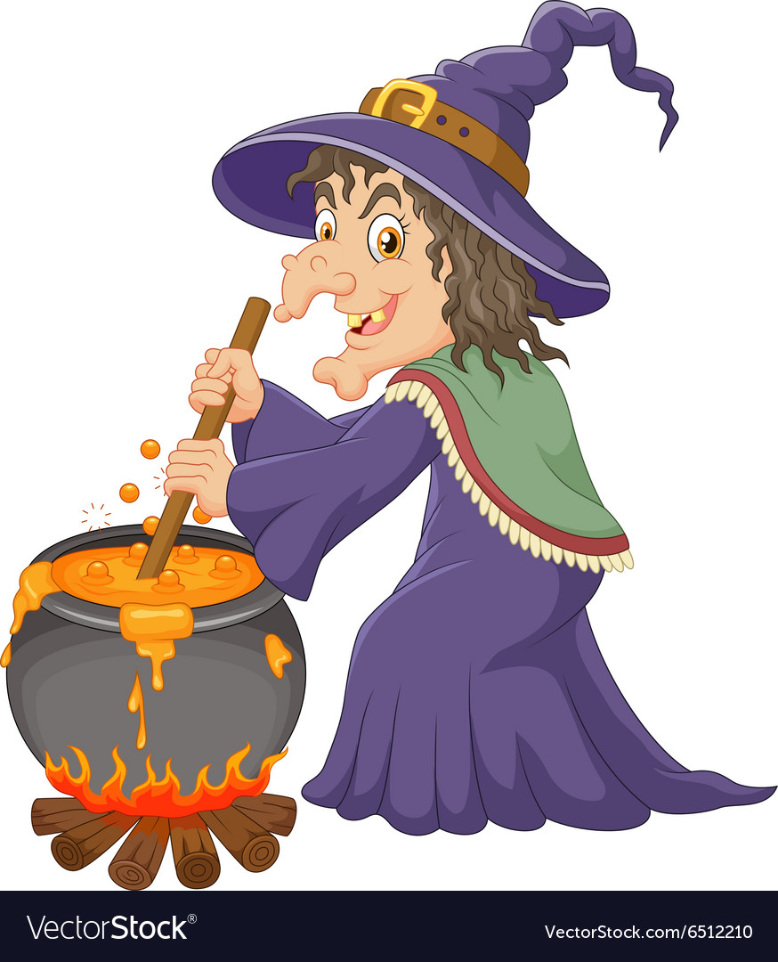 The ugly witch is stirring the potion vector image