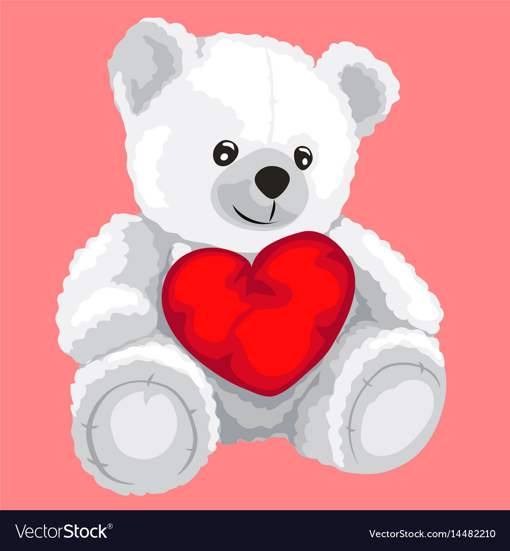 White toy bear with red heart in cartoon style