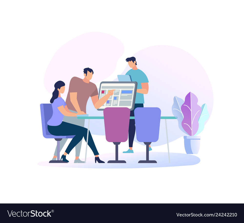 Young woman sitting at desk with computer people