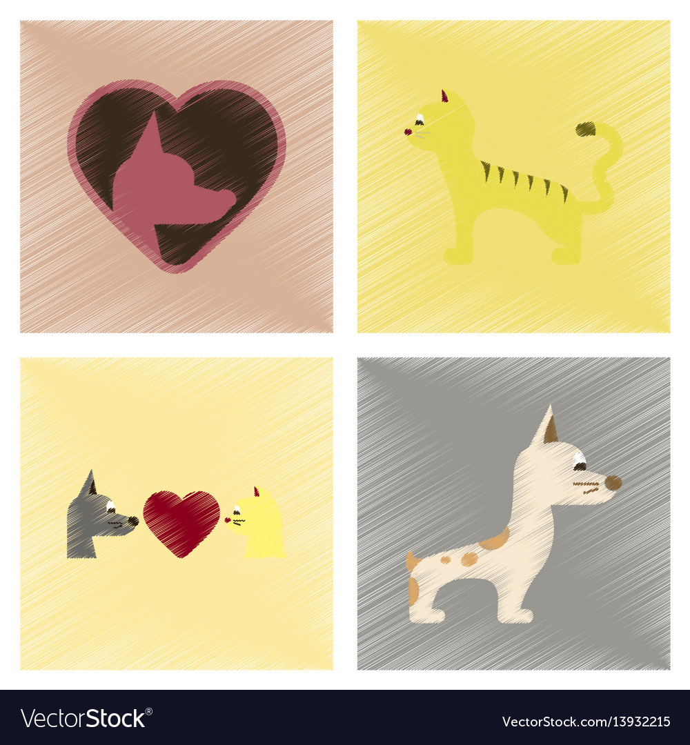 Assembly flat shading style icons dogs cats pets