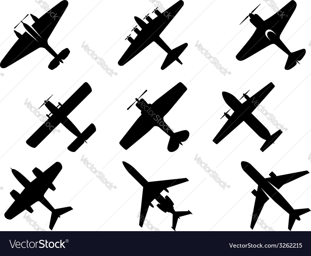 Black aircraft silhouette icons vector image