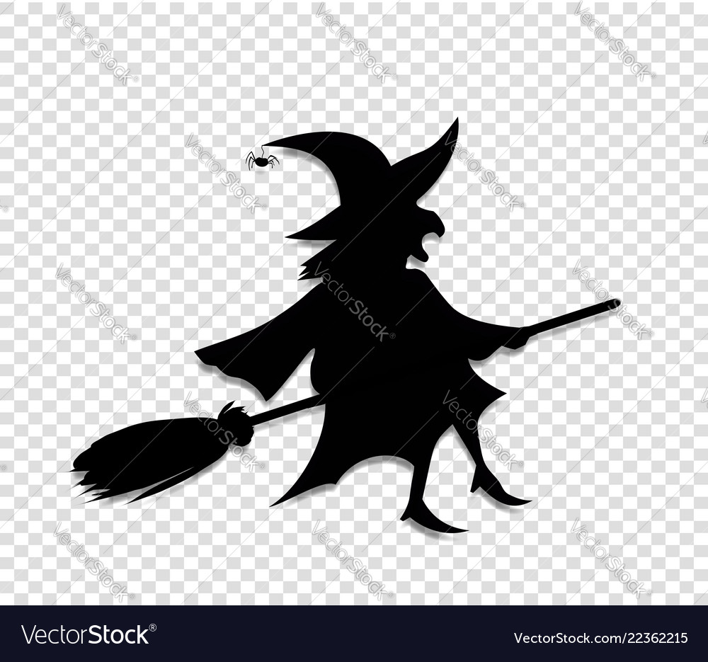 17c7e27befbd0 Black silhouette of witch fly on broomstick Vector Image