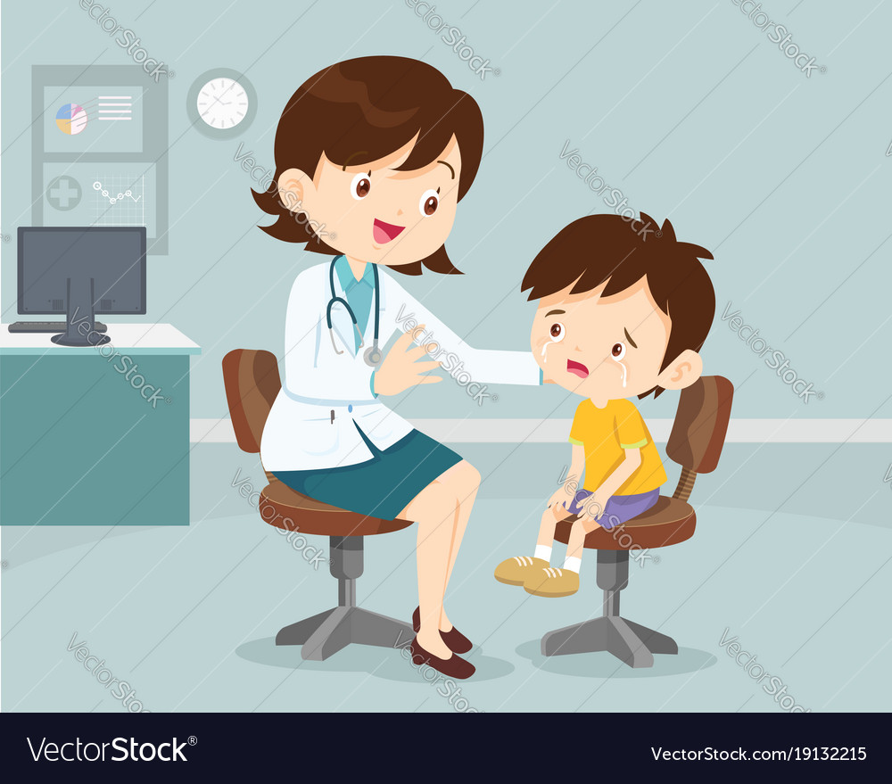 female doctor comforting her crying patient kid vector image Shopping Clip Art resale clipart license
