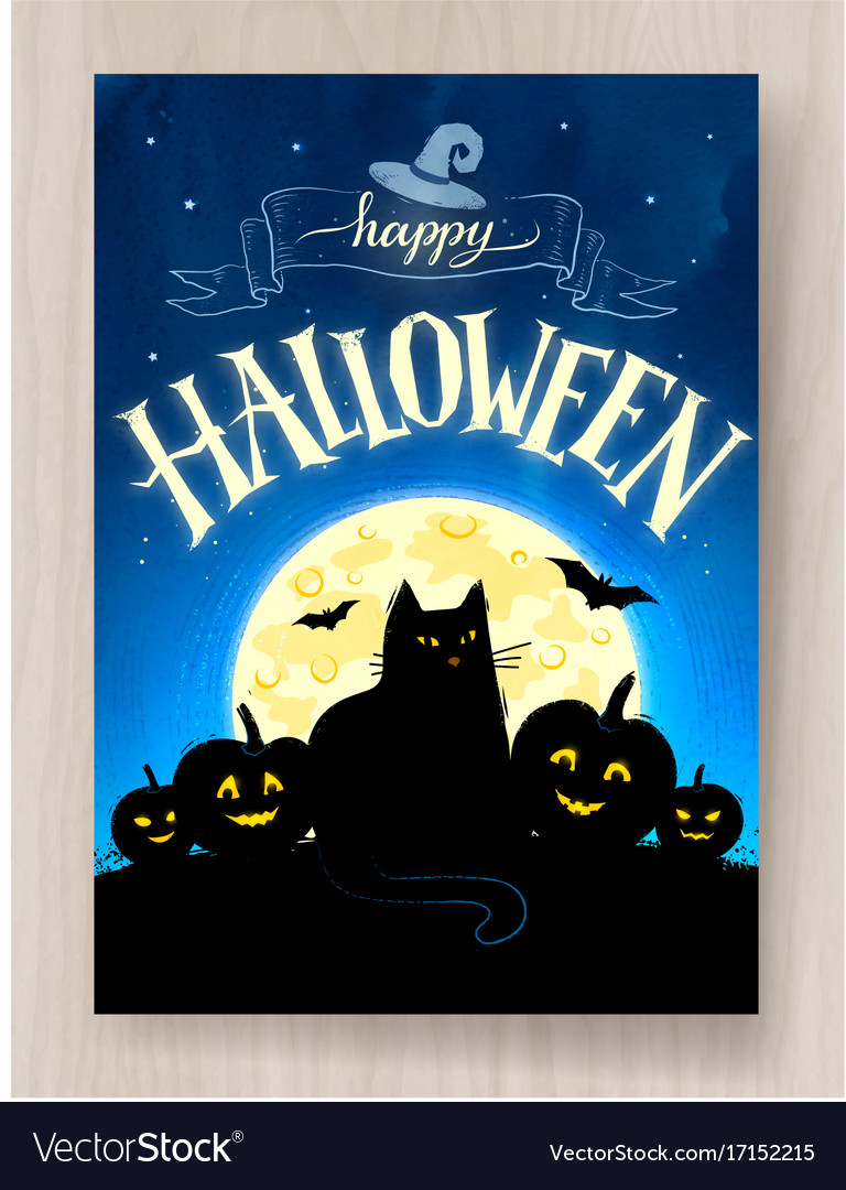 Happy halloween postcard design