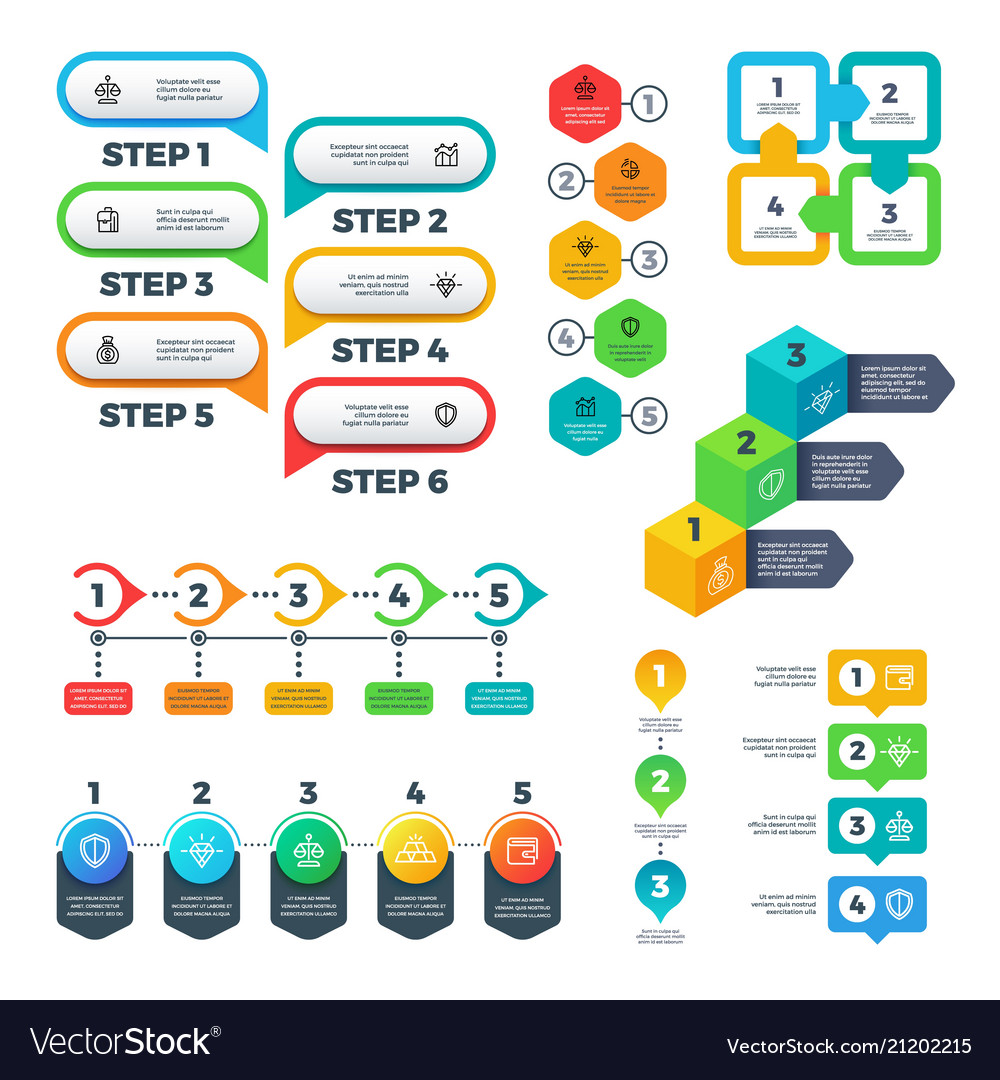 Infographic charts bar graphs steps and options